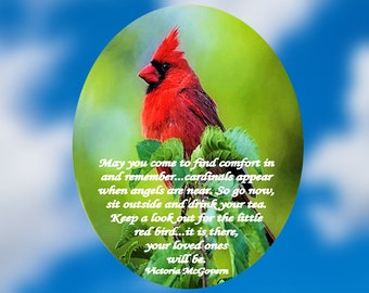 Memorial Suncatcher - Cardinal - Red Bird -  With or Without Poem