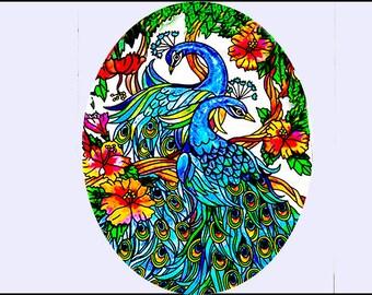 Suncatcher - Small Glass  Peacocks