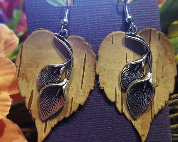Birch Bark Calla Lily Earrings