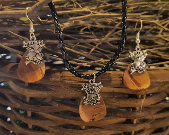 Birch Bark Cat Set - Earring Necklace