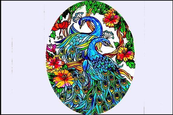 Glass Suncatcher - lg Peacocks