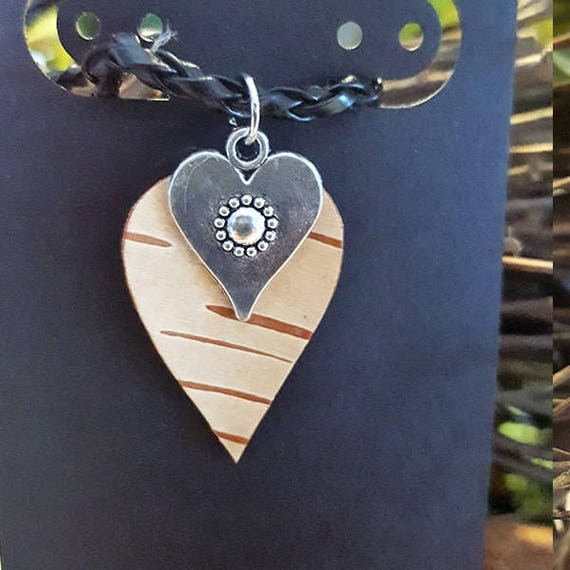Birch Bark Heart necklace