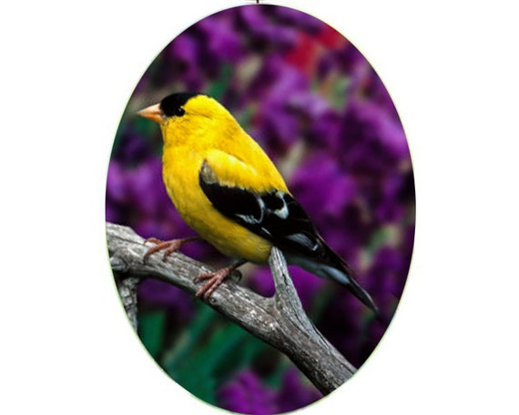 Glass Suncatcher  lg - Goldfinch - Yellow Bird - large