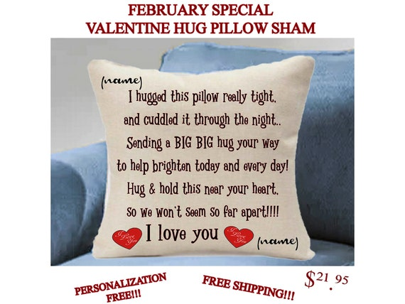 Hand Sewn Pillow Sham / Hugs from Home/Hugs for Valentines and Every Day