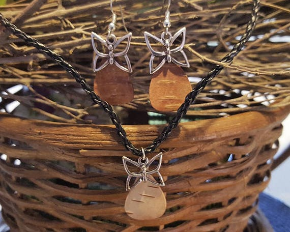 Birch Bark Butterfly Set -Earring Necklace