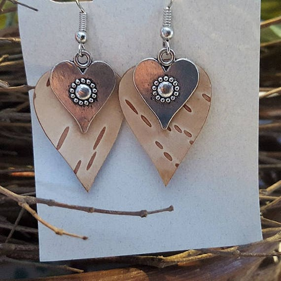 Birch Bark heart earrings