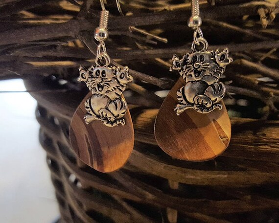 Birch Bark cat earrings