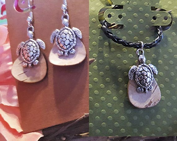 Birch Bark w/Turtle - Necklace &/or Earrings