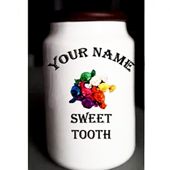 Personalized ceramic candy jar