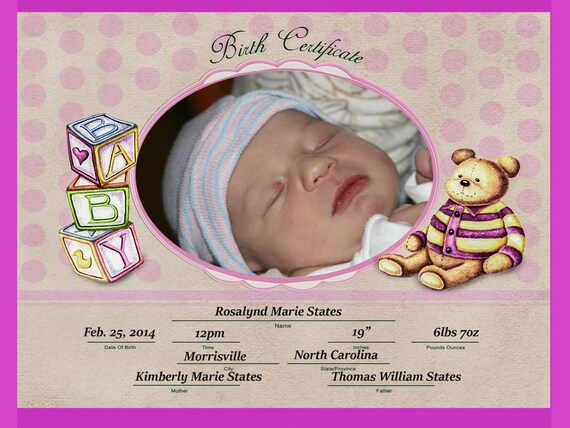 "Children's Photo Props - 8""x 10"" - Birth Certificate - First Picture - Baby and Mom"