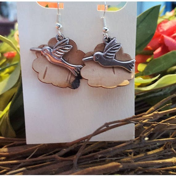 Birch Bark Hummingbird earrings