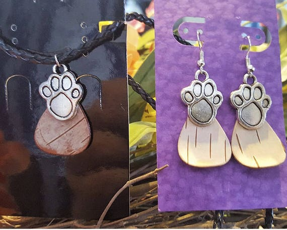 Birch Bark paw print necklace earring set