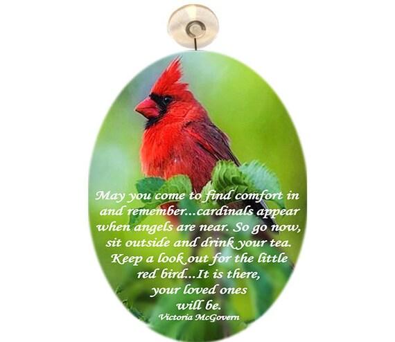 Glass Suncatcher -lg Cardinal