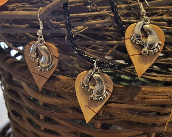 Birch Bark Feet earring necklace set