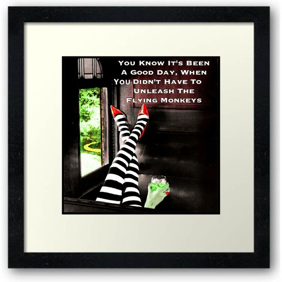 Favorite Quote, (Flying Monkeys),  on a Ceramic Tile, Metal Panel, Framed Print, Mugs, Glass Mug, Totes, T-shirts  and More