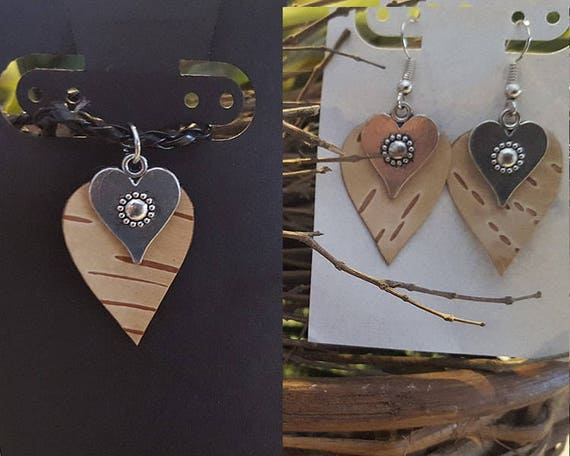 Birch Bark Heart earring necklace set