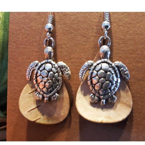 Birch Bark Turtle earrings