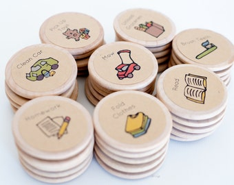 Round Chore Magnets / 1.5 Inches / Wood Magnets / Chore Charts / Chores / Magnets / Chore Magnets / Children / Magnetic Chore Chart