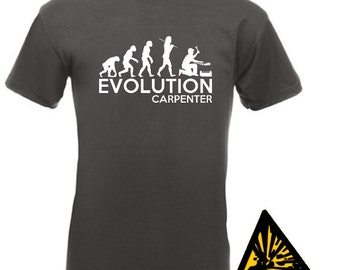 Evolution Of Man From Ape To Carpenter T-Shirt Joke Funny Tee T Shirt Tshirt Carpentry Joinery Chippy