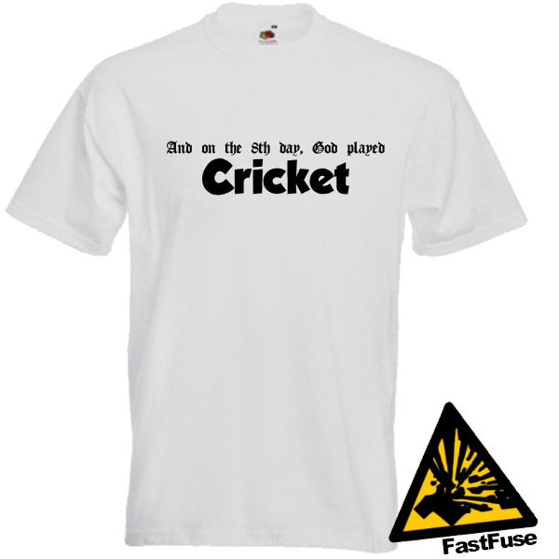 51991cb12 And On The 8th Day God Played Cricket T-Shirt Joke Funny | Etsy