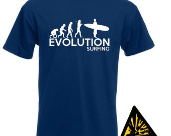 Evolution Of Man From Ape To Surfing T-Shirt Joke Funny Tee T Shirt Tshirt Surf Surfer