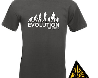 Evolution Of Man From Ape To Weights T-Shirt Joke Funny Tee T Shirt Tshirt Weightlifting Weight Training