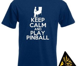 Keep Calm And Play Pinball T-Shirt Joke Funny Tshirt Tee Shirt Gift