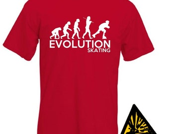 Evolution Of Man From Ape To Skating T-Shirt Joke Funny Tee T Shirt Tshirt Inline Skater