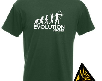 Evolution Of Man From Ape To Archer T-Shirt Joke Funny Archery