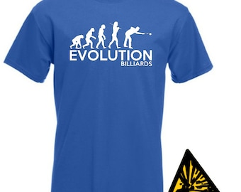 Evolution Of Man From Ape To Billiards T-Shirt Joke Funny Tee T Shirt Tshirt