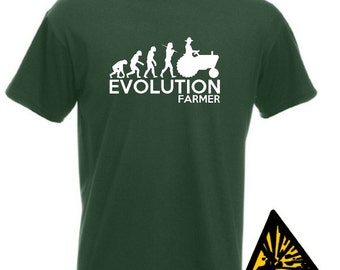 Evolution Of Man From Ape To Farmer T-Shirt Joke Funny Farm Tractor