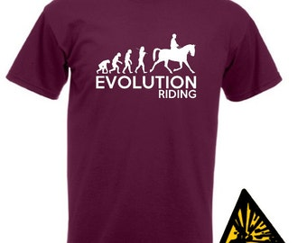 Evolution Of Man From Ape To Riding T-Shirt Joke Funny Tee T Shirt Tshirt Horse
