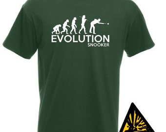 Evolution Of Man From Ape To Snooker T-Shirt Joke Funny Tee T Shirt Tshirt