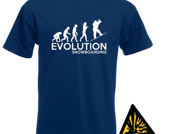 Evolution Of Man From Ape To Snowboarding T-Shirt Joke Funny Tee T Shirt Tshirt Snowboarder