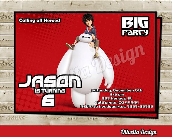 Big Hero 6 Invitation For Birthday Party Baymax Hiro Digital File