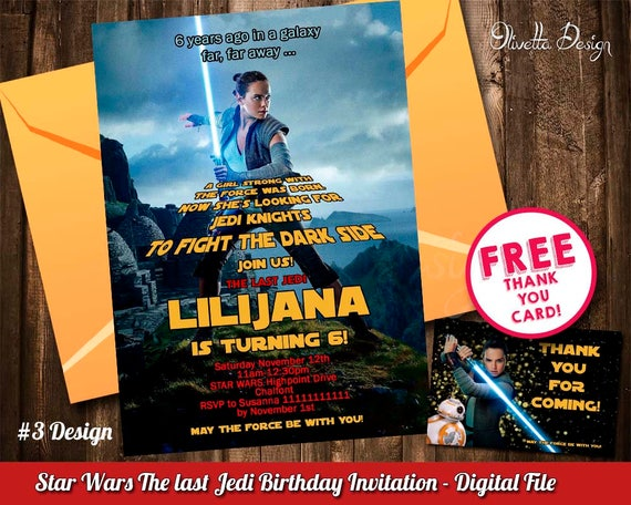 Rey Invitation The Last Jedi Star Wars Birthday Printable New Movie Invite Digital File