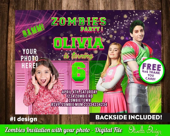 Disney Zombies Invitation For Birthday Party Invite With Your Photo