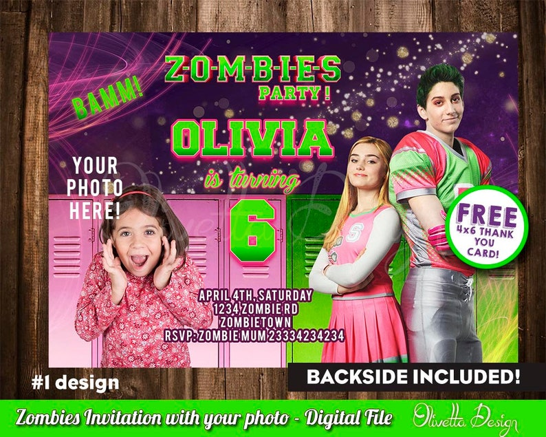Disney Zombies Invitation For Birthday Party Invite