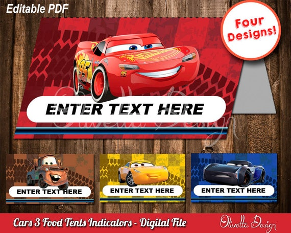 Cars 3 EDITABLE Food Tents, food cards, Cars, Food cards, party
