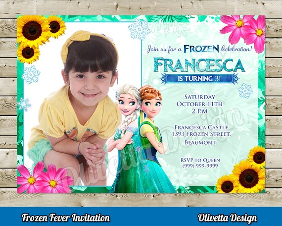 Frozen Fever Invitation For Birthday Party With Photo Frozen