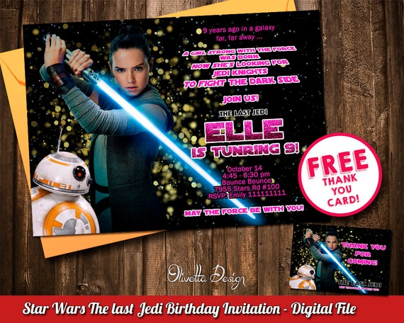 Rey Invitation The Last Jedi Invitation Star Wars Birthday