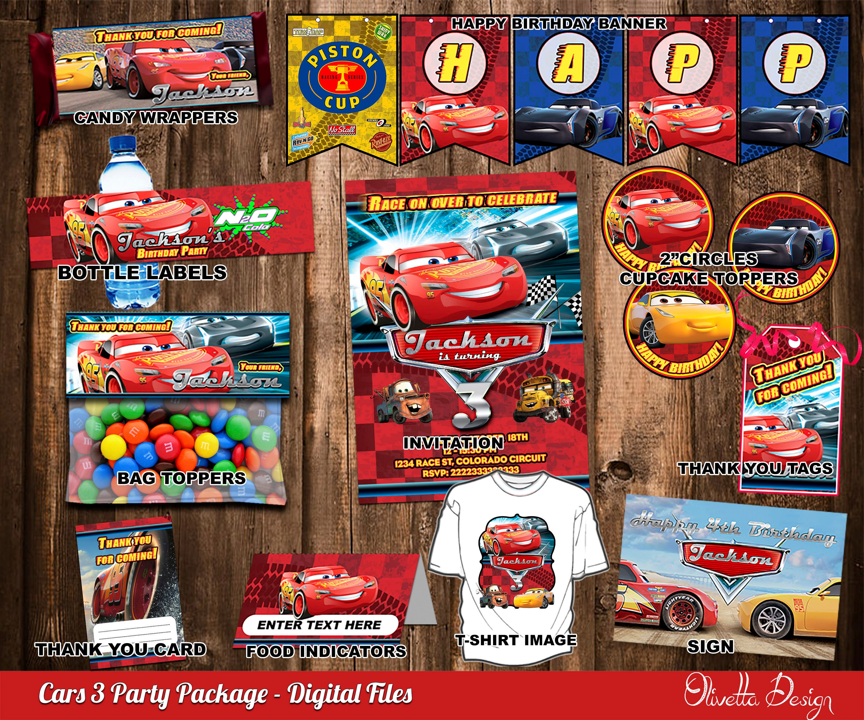 Cars 3 Birthday Party Package Printable Invitation