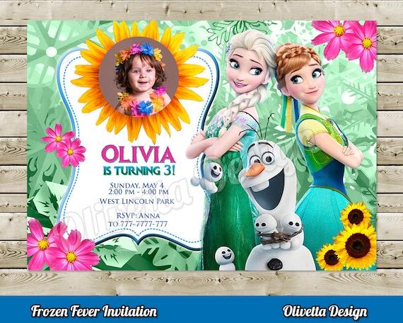 Invitacion Frozen Fever Con Foto Para Cumpleaños Personalizada Con Foto Incluye Tarjeta Agradecimiento Personalizada Archivo Digital