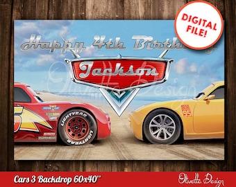 """Cars 3 Backdrop 60x40""""Image Printable - Cars Printable DIY, Printable Cars candy table, Cars 3 Backdrop - Customized Digital File"""