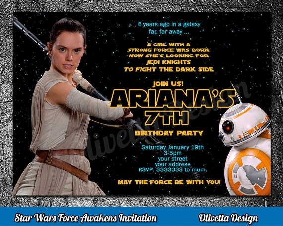 Rey Invitation Star Wars Birthday Printable New Movie Invite Digital File ID001FA