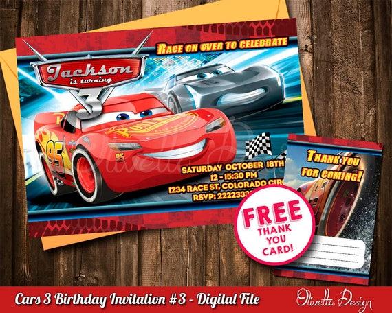 enveloppes Cars 3 Personnalisé CARS LIGHTNING MCQUEEN Fête D/'Anniversaire Invitations