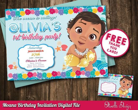 Baby Moana Invitation Vaiana Printable Digital File Birthday Party