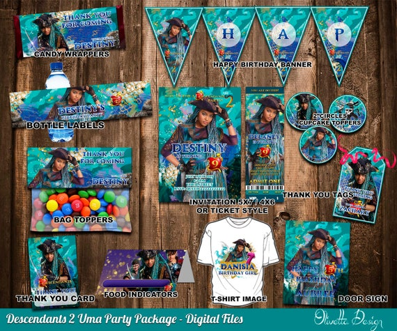 Descendants 2 Uma Birthday Party Package Printable Kit Customized With Name