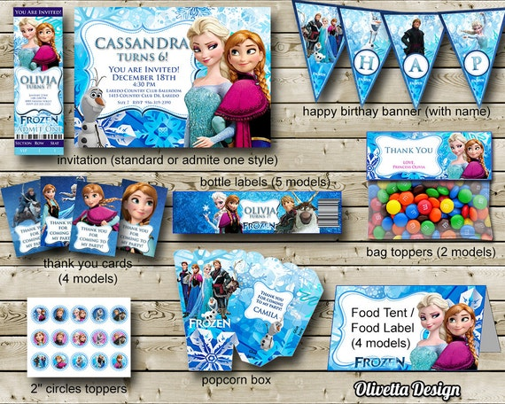 Frozen Birthday Party Package Printable Frozen Party Kit