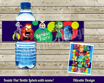 Inside Out BIRTHDAY party Printable - Bottle Labels with name - Customized file - Digital File